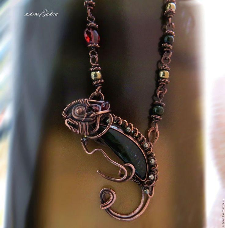 Купить Хамелеон кулон-подвеска с нефритом - коричневый, хамелеон кулон из меди, украшение с хамелеоном