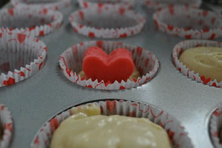 Heart shapes cake inside cupcake....cute!