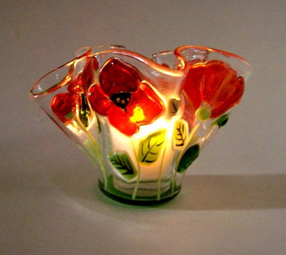 Fused glass poppy bowl Stunning!