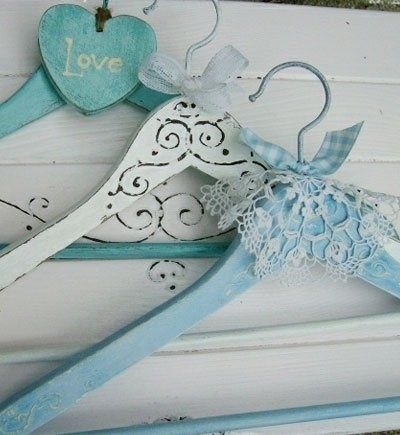 Vintage Wooden Clothes Hangers painted in Blue & White, with Lace & Gingham Ribbon Decoration ....                                                                                                                                                      More