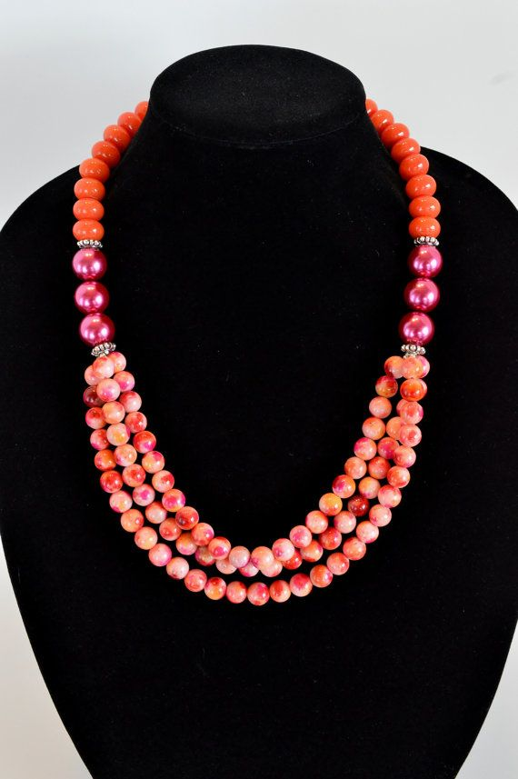 Jade Statement Necklace Beaded Strand Orange and by DebbieRenee, $58.00