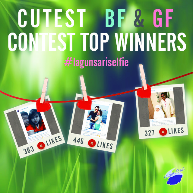 As easy as that, these are the top 3 winners of the Lagun Sari Cutest BF & GF Contest! They have just won the grand prizes of $500 Wedding Vouchers & Complimentary Dinner for 2 at Lagun Sari Wedding & Catering Services!!! DONT WORRY! All other participants will also receive the consolation prizes of $120 Wedding Vouchers!! smile emoticon Be sure to stay tune to our next contest!