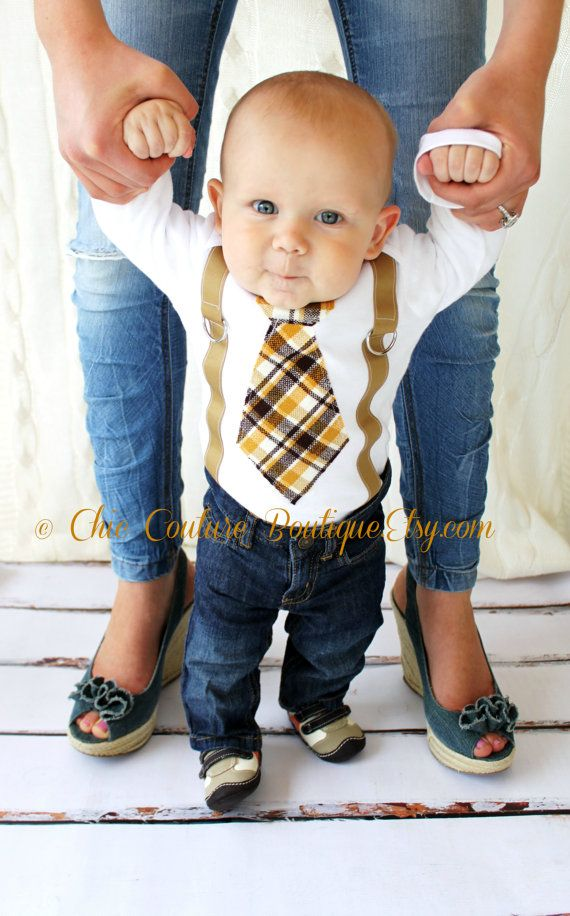 Baby Boy Birthday Gift.Tie Onesie and Suspenders. Thanksgiving Fall Harvest Plaid of Brown, Tan, Taupe, Orange, Mustard yellow Make Your Own