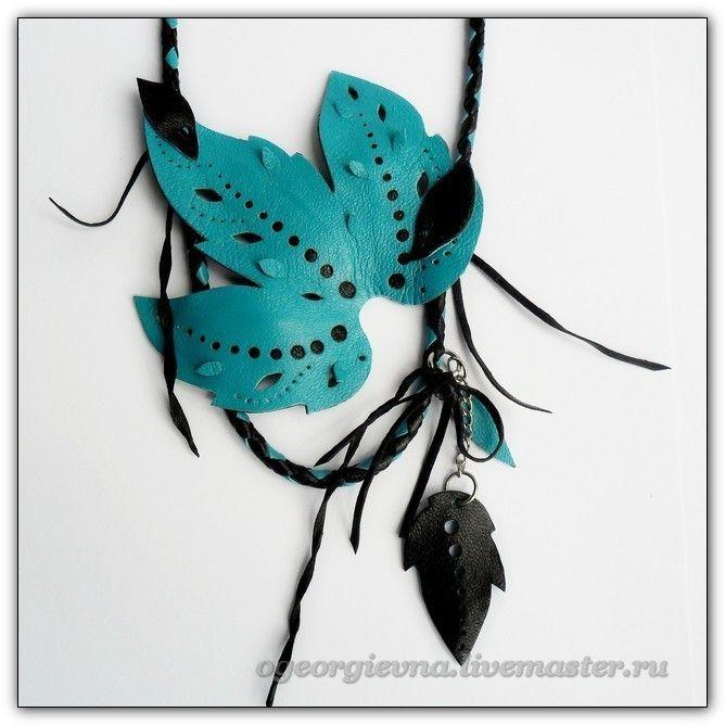 Украшение на шею из кожи-184 - украшение на шею,украшение из кожи,кожаное украшение