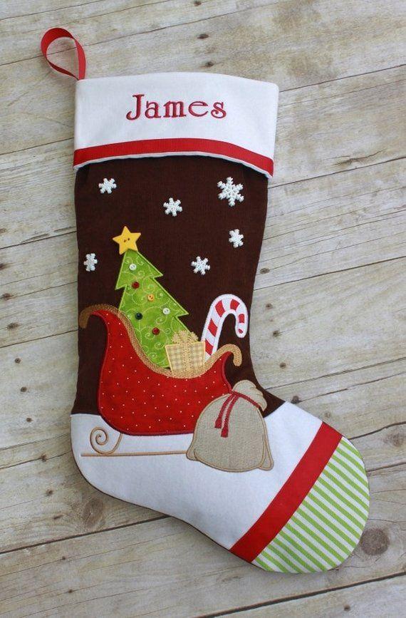 Christmas Stocking Santa S Sleigh Santa Sleigh Boy Girl