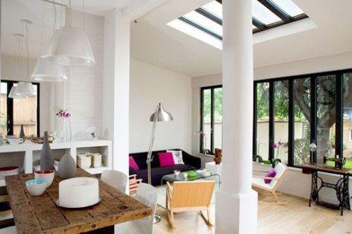 décoration, extérieur, implantation, intérieur, jardin, lumière, maison, transition, véranda