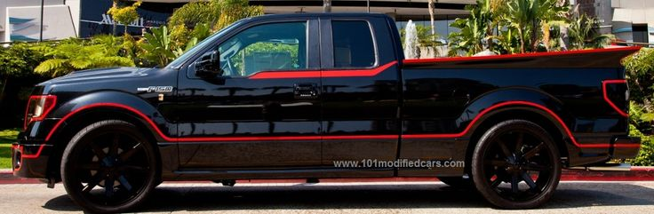 Modified Ford F Series F-150 2-door pickup (12th generation) with KMC KM651 Slide Gloss Black 24 inch (24' x 9.5', offset +25) wheels and lower