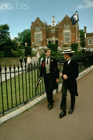 Two students at Harrow School near London wear school uniforms. 1967