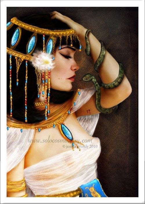 """""""Cleopatra and the Serpent"""" Small Size Giclee Art Print of Original Artwork of The Death of Egyptian Queen Cleopatra"""