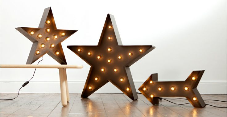 Star lighting, looks like a theatre prop. Broadway Star Floor Lamp in black | made.com