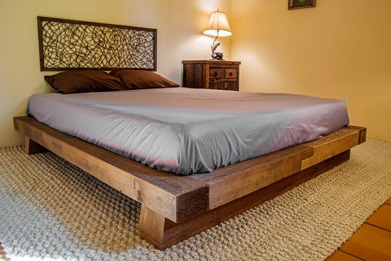 Wood Bed Frame Rustic Reclaimed Salvaged Timber Full Queen Etsy Rustic Wood Bed Frame Wood Bed Frame Rustic Wood Bed