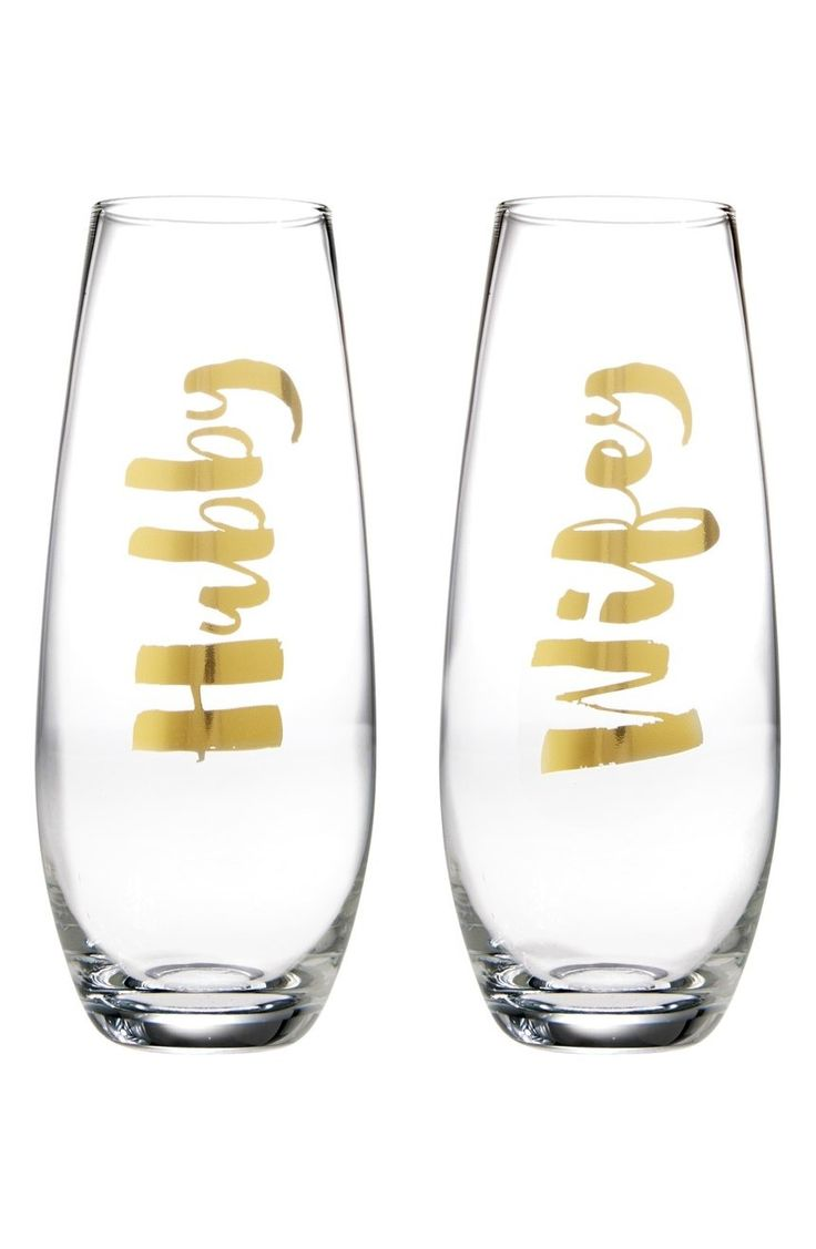 A set of two modern, stemless champagne glasses makes a great wedding, shower or anniversary gift for the happy couple.