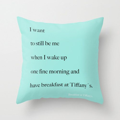 Breakfast At Tiffany S Pillow Breakfast At Tiffany S Decor Velveteen Pillow Cover Decorative Pillows Gift For Bestfriend Aqua