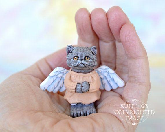 Katze-Kunst-Puppe, OOAK Original blau persische Engel Kätzchen, Miniatur Hand bemalte Volkskunst Figur Skulptur, Willa von Max Bailey