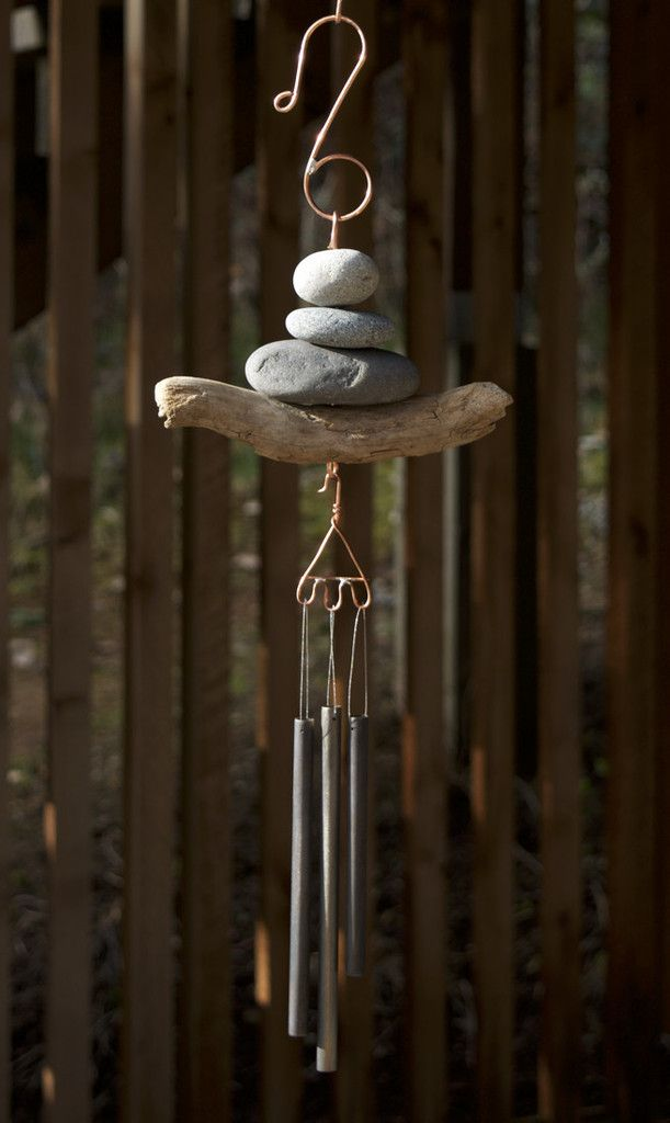 Wind Chime Beach Stone Driftwood Handcrafted