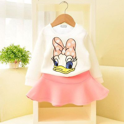 Baby Grls Donald Duck Cartoon Outfit Set with Duck Print Top and Solid Color Skirt (2pcs) for 2-6T - More Choices Available