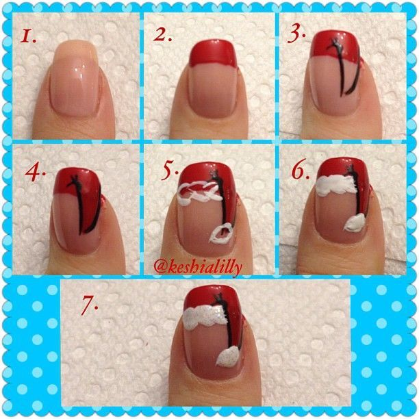 How-To:  Red Christmas Santa Hat Nails
