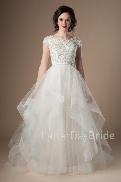 c037633c6bb9 modest wedding dresses at latter day bride, the Waterford with beading and  horse hair edging