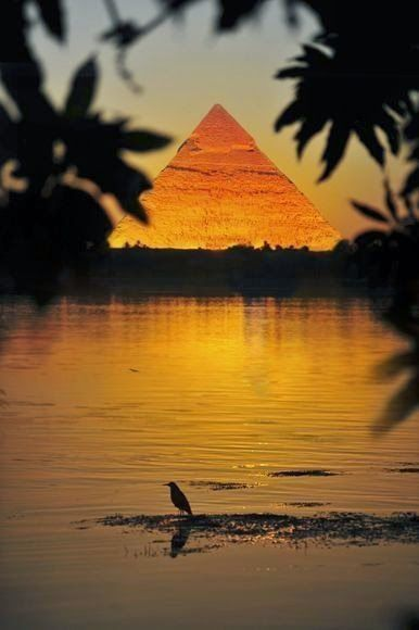 Great Pyramid of Giza by the Nile River                              …