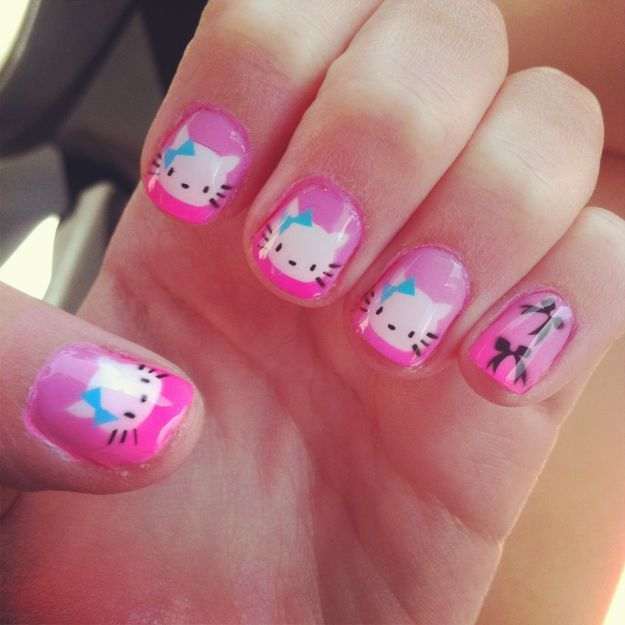 Маникюр hello kitty ::: onelady.ru ::: #nail #nails #nailart #manicure
