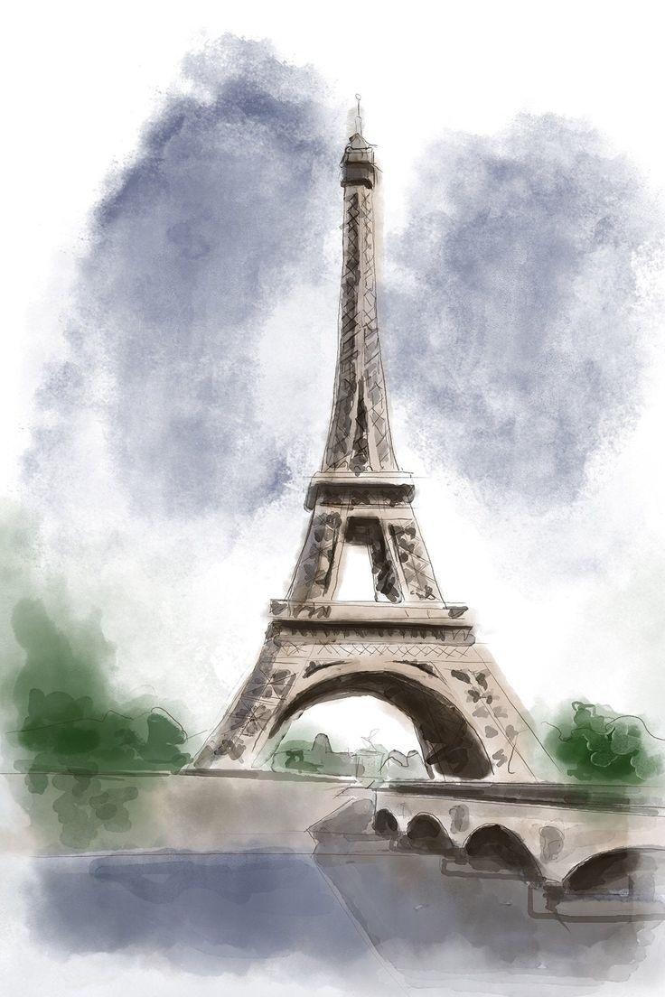 Eiffel Tower Paris France Watercolor Print In 2020 Eiffel Tower