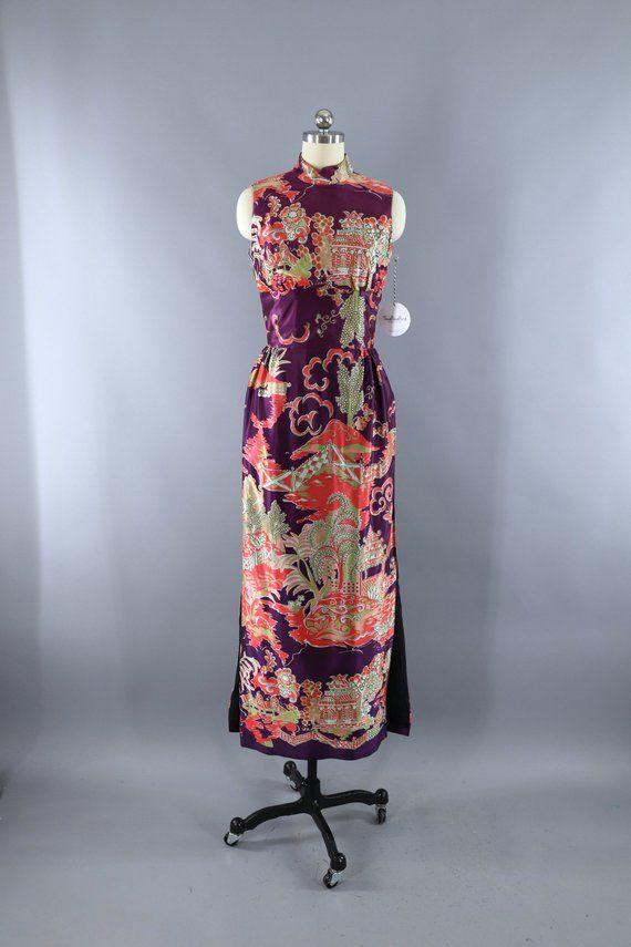 a0f0b034508 Vintage 1960s Ao Dai Vietnamese Dress / Purple & Pink Pagoda Novelty  Print / Asian