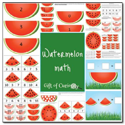 Free Watermelon-themed math activities for preschoolers from Gift of Curiosity