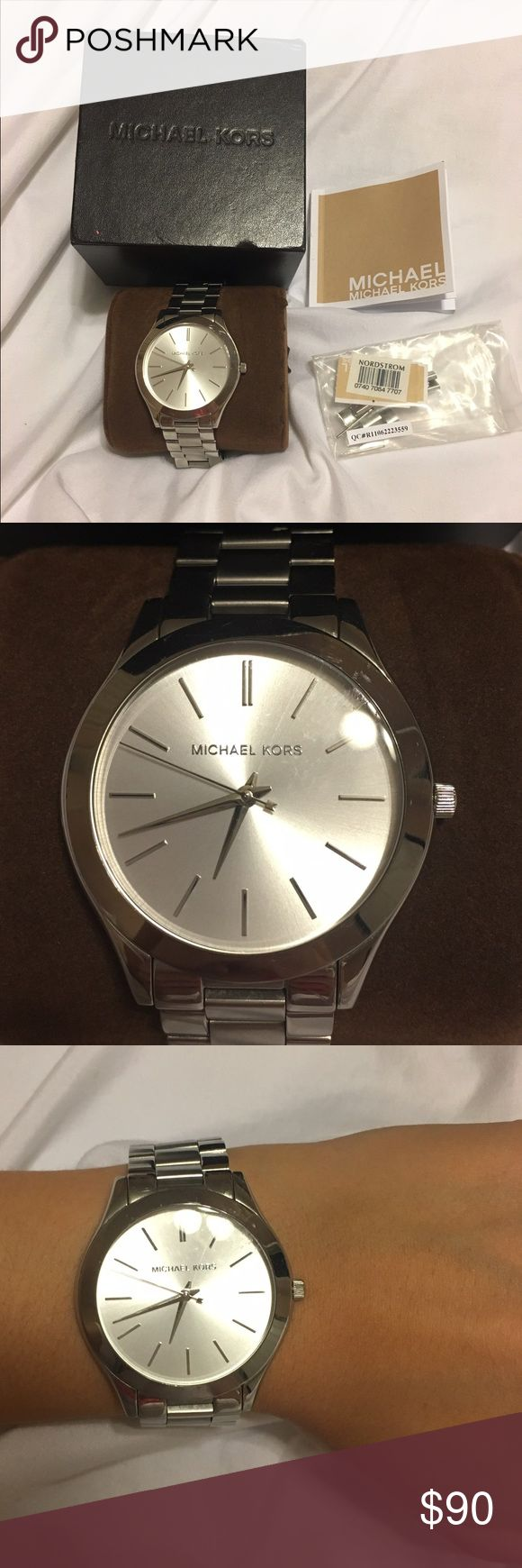 Michael Kors Sliver Watch Very good condition. Light scratches and needs new battery *comes with original box manual and extra links*   Retails for $195  https://www.michaelkors.com/product/runway-silver-tone-watch/_/R-US_MK3178?colorExplode=true&skuId=146489111&ecid=MKC_Google_US&gclid=CLCb6MXMudQCFYKLswodqWEFAQ Michael Kors Accessories Watches