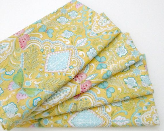 large cloth napkins set of 4 yellow butterflies by