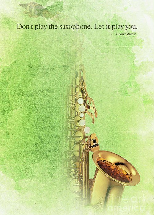 "Charlie Parker Saxophone Green Vintage Poster And Quote, Gift For Musicians Greeting Card for Sale by Pablo Franchi. Our premium-stock greeting cards are 5"" x 7"" in size and can be personalized with a custom message on the inside of the card. All cards are available for worldwide shipping and include a money-back guarantee."