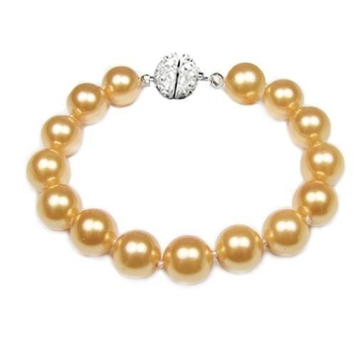 Royal Wedding Jewelry 10mm South Sea Shell Golden Pearl Bridal Bracelet