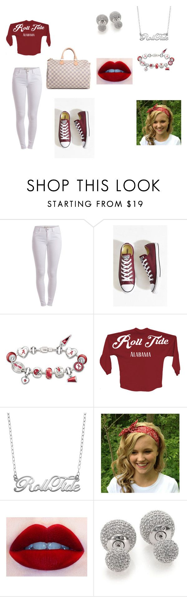 """""""RollTide_Alabama"""" by glitzy-metallic-acc ❤ liked on Polyvore featuring Pieces, Converse, The Bradford Exchange, Fiora, Adriana Orsini and Louis Vuitton"""