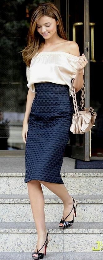 high waist skirt, off the shoulder shirt.. I don't think I could pull off the off the shoulder and I dont like the bag, but I love this look in general