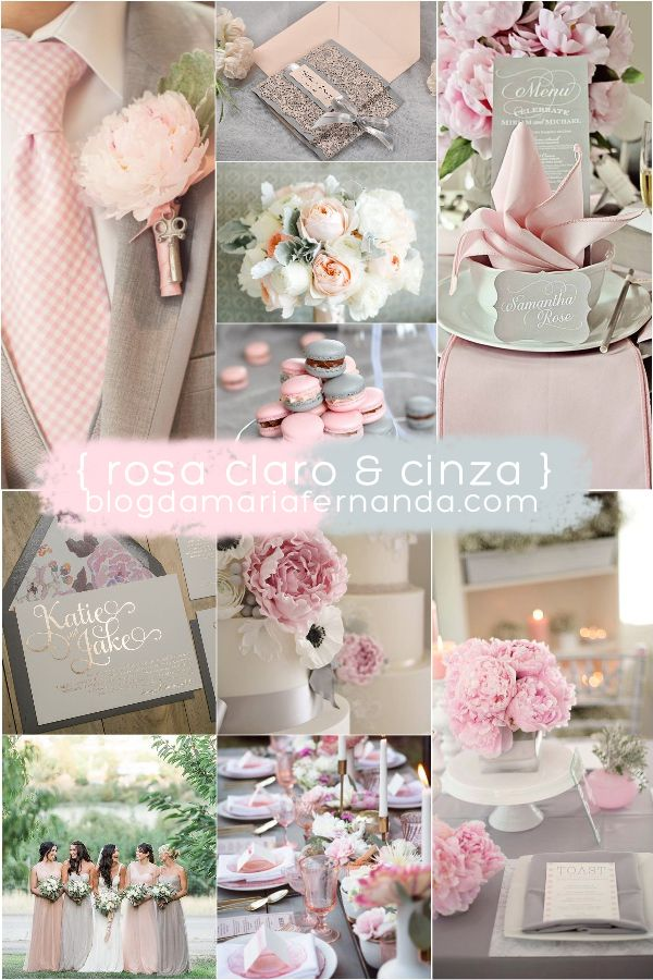Decoração de Casamento : Paleta de Cores Rosa e Cinza                                                                                                                                                                                 Mais