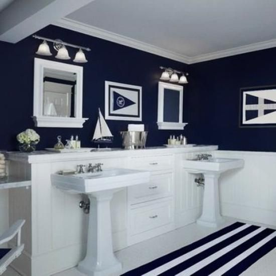 White and blue bathroom colors and nautical decor theme for Navy and white bathroom accessories