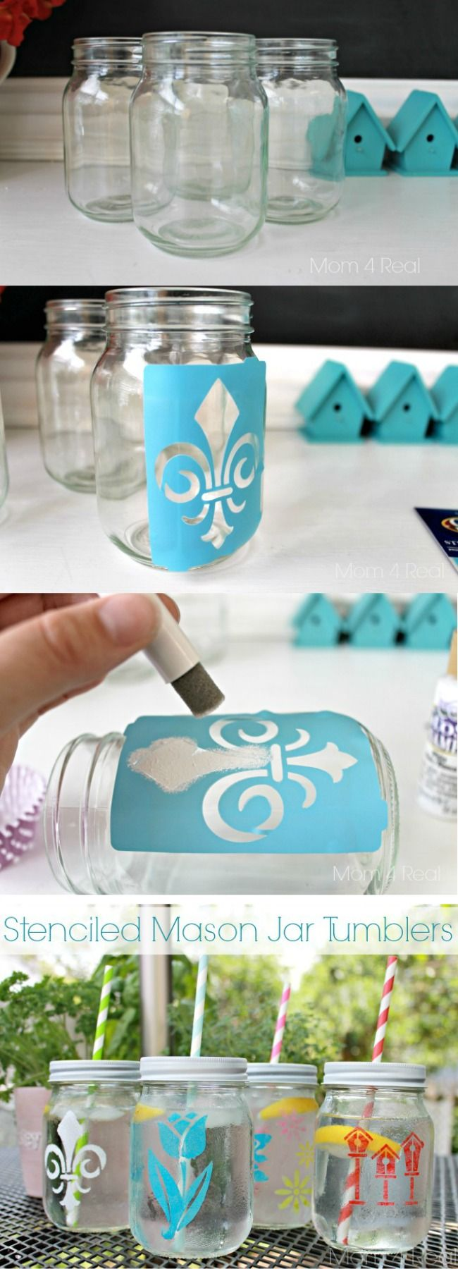 Stenciled Mason Jars - would be cute for food as well , stenciling in labels (pasta, rice, quinoa, etc)
