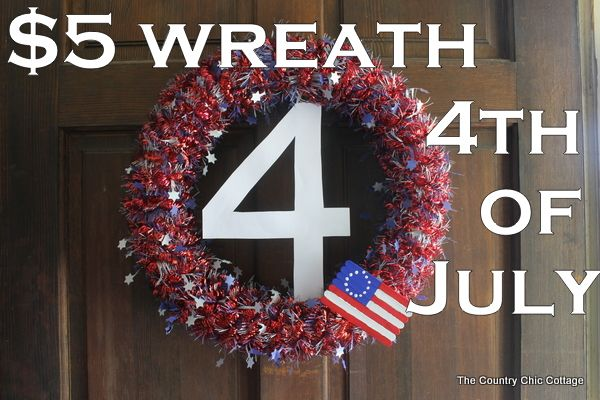 July 4th Wreath (made with a pool noodle  Dollar Store garlands - cheap  easy!)