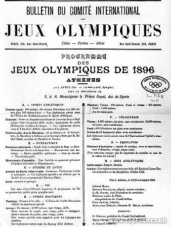 Program for the 1896 Olympic games