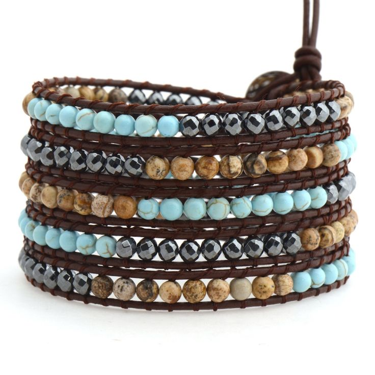 TURQUOISE, SHELL & HEMATITE ON BROWN by Victoria Emerson