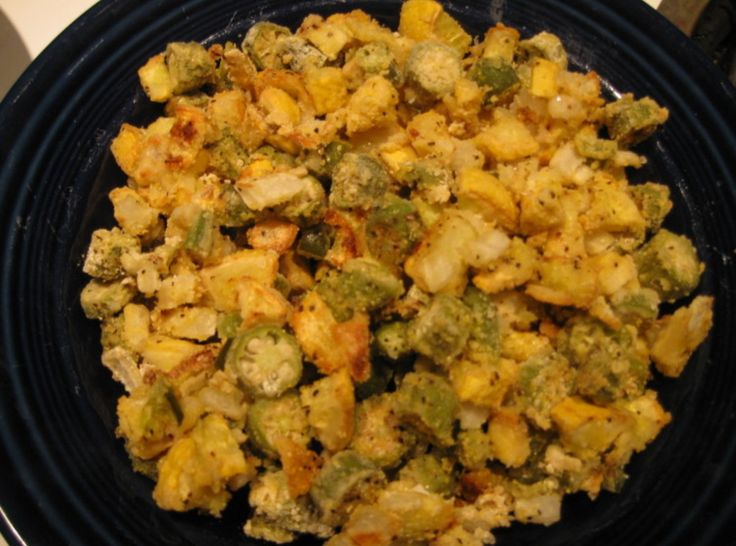 Yum... I'd Pinch That! | Comforting Oven-Fried Okra, Squash, and Onion