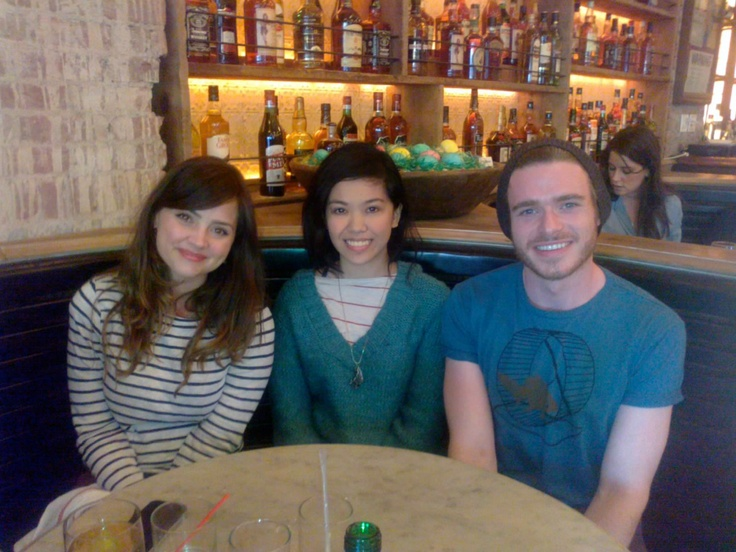 Richard Madden with his current girlfriend; Jenna Louise-Coleman who plays Clara Oswin Oswald on Doctor Who. She's on the left, not sure who the girl in the middle is.