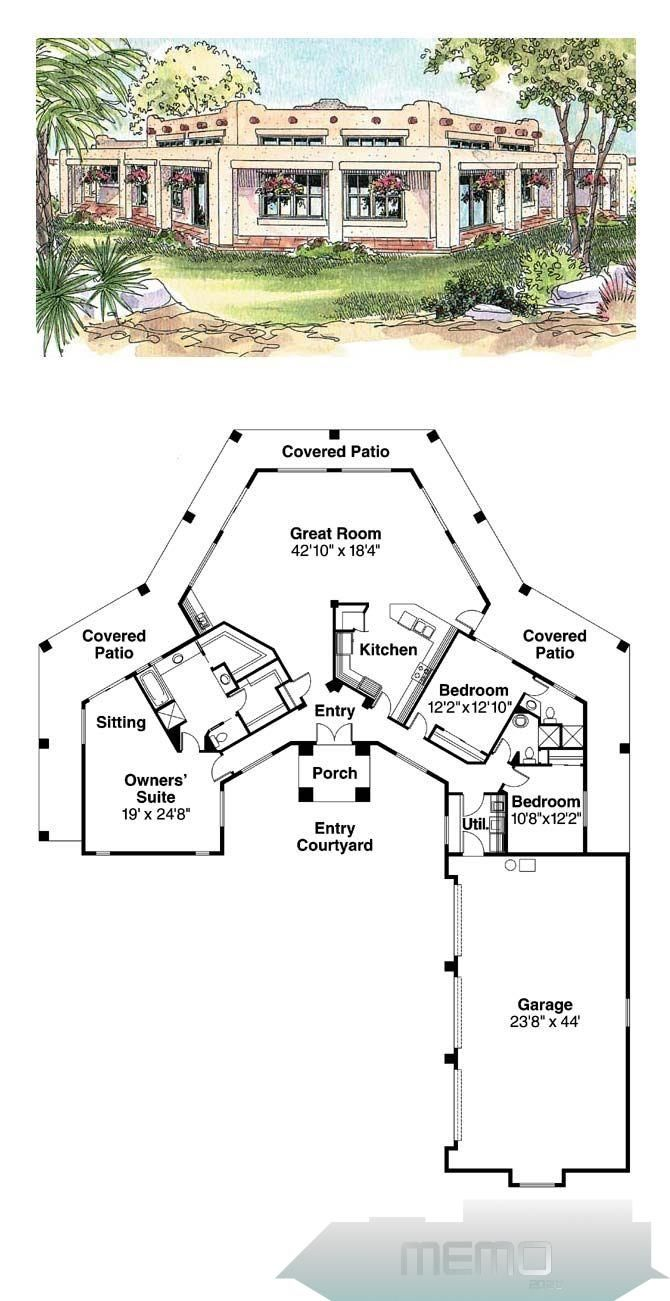 Oct 30 2014 Santa Fe House Plan 69773 Total Living Area 2431 Sq Ft 3 Bedrooms And 3 Bathrooms In 2020 Best House Plans Pueblo Style House Dream House Plans