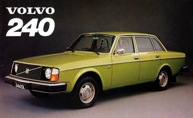 Volvo 240. Pea green was obviously a popular colour in the 1970's