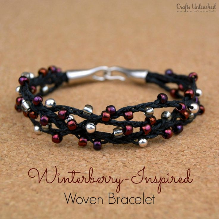 This woven bracelet design has a wintry winterberry theme & makes a perfect last-minute handmade gift. Best of all, you can make it for under $10!