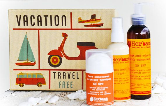 Travel Summertime Gift Box! Integrated Vegan Sun Protection for face, body & hair in a beautiful vintage box.  You will receive 3 items:  Face