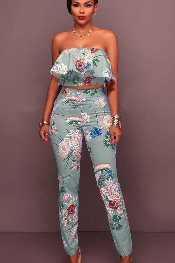 03e117f2958a1 Light Blue Floral Print Strapless Ruffle Crop Top Pants Suit  037929   Sexy  Rompers And Jumpsuits For Women-Strapless Jumpsuit