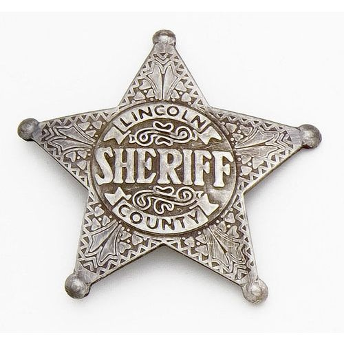 Wild West Replica Lincoln County Sheriff's Badge. This Sheriff's badge is an authentic reproduction of what would have been worn by Pat Garrett, Lincoln County. Antique silver finish.