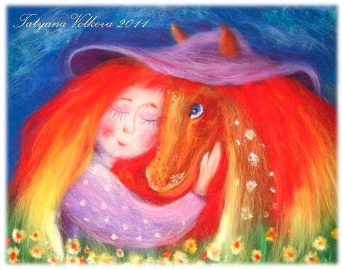 """картины из валяной шерсти - """"я люблю рыжую лошадку"""""""