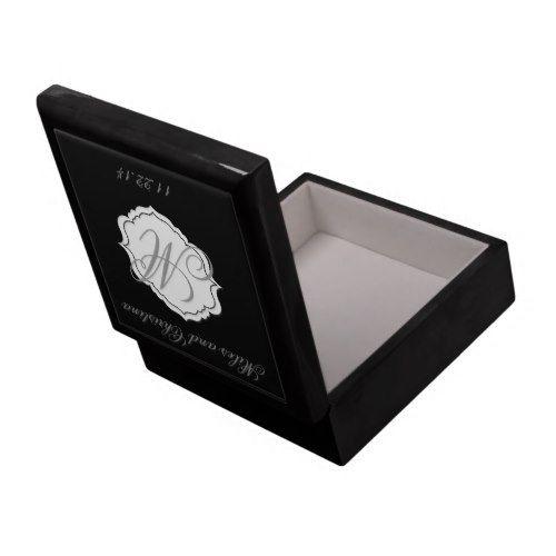 Black Monogram Wedding Keepsake Box Attendant Gift