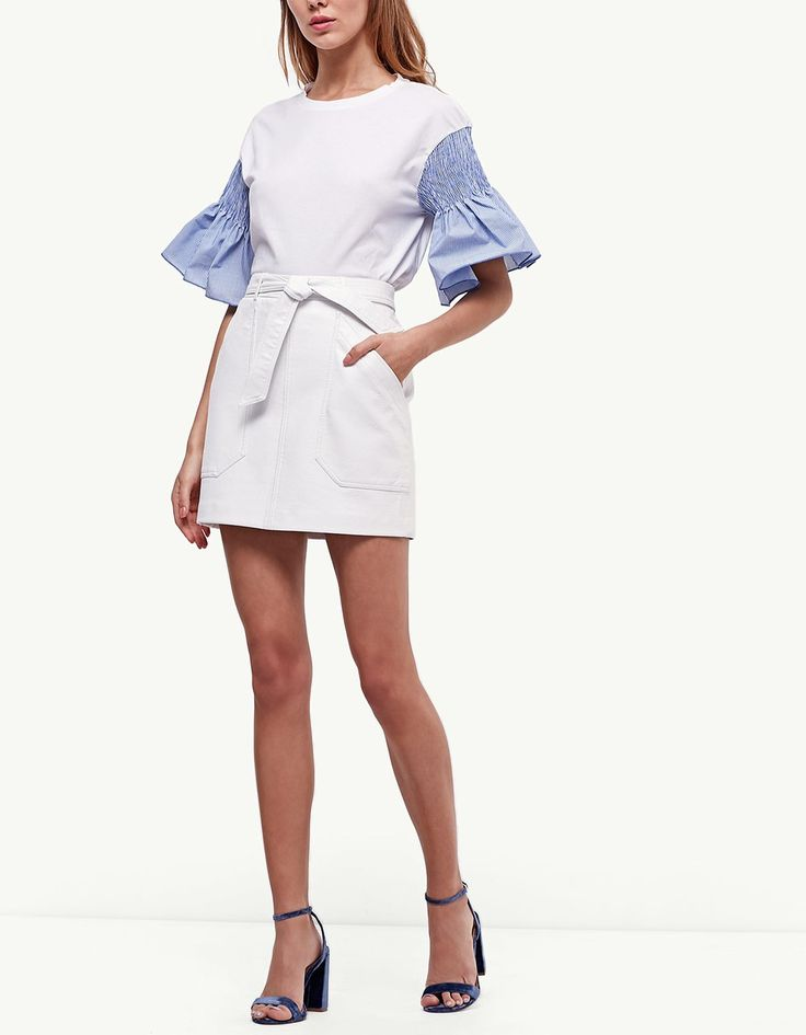 Skirt with belt and leather look pockets - Skirts   Stradivarius United Kingdom